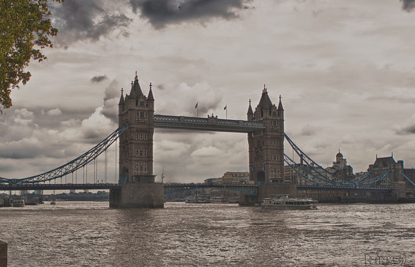 Tower Bridge in HDR(8/22/2011) suspension bridge in London, England, over the River Thame. It is often mistaken for the next bridge up the river the London Bridge. -Bob